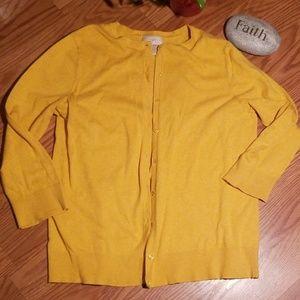Ann Taylor loft lg mustard color cardigan